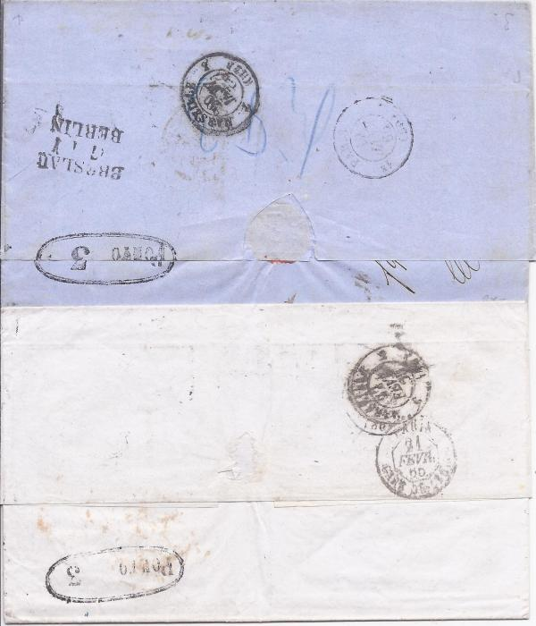 Russia  1865 two entires from Odessa to Marseille each charged 11 decimes on arrival, bearing boxed Aus Russland cachets and two different types of oval-framed Porto 3 handstamps.