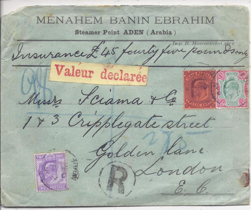 Aden 1908 Value Declared registered cover to London, endorsed �Insurance �45 fourty five pounds only� franked 2a., 12a. and 1r. tied unclear cds, blue manuscript registration number of Indian Sea Post Office, red on yellowish Valeur declare label, reverse with red wax seals and arrival cancel; small corner fault to envelope, rare.