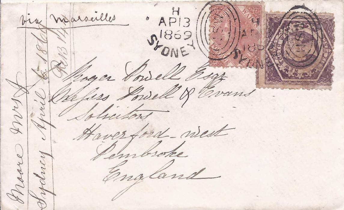 Australia (New South Wales) 1869 (AP 13) cover to Pembroke, Wales franked mixed issue 4d. and 6d. tied Sydney duplex, endorsed �via Marseilles�, Haverfordwest arrival backstamp; with contents.