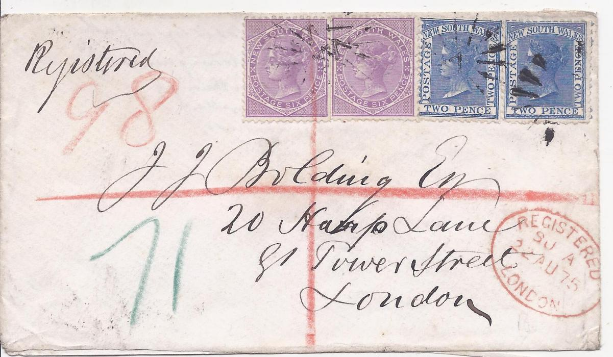 Australia (New South Wales) 1875 registered cover to London franked 2d. (2) and 6d. (2) tied by �sunburst� cancels of Sydney whose four-ring oval despatch duplex appears on reverse.