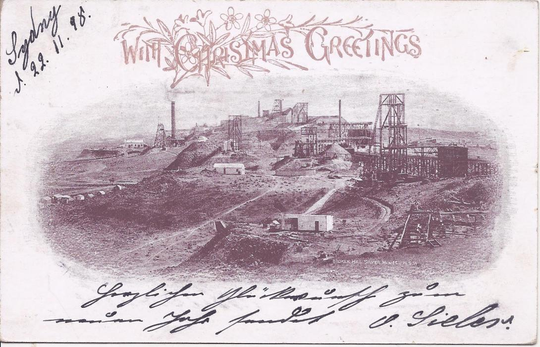 Australia (New South Wales – Picture Stationery) 1898 1½d. view card of Broken Hill Silver Mine used from Sydney to Germany; fine condition.