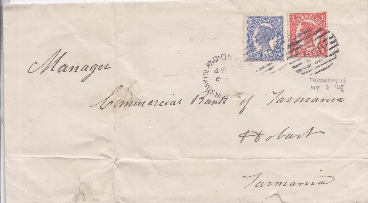 Australia Queensland - Thursday Island 1905 cover to Hobart franked 1d. and 2d. tied 336 numerals with cds in association, reverse with Brisbane transit and arrival cds; slight faults to envelope.