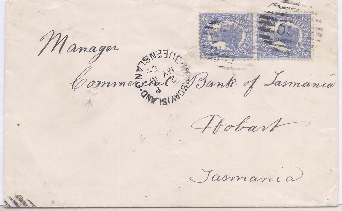 Australia Queensland - Thursday Island 1905 cover to Bank of Tasmania, Hobart (believed to be the undercover address for Tatersalls during postal ban) franked pair 2d. tied 336 numerals with cds in association, reverse with Brisbane transit and arrival cds.