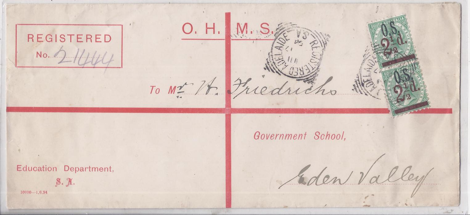 Australia South: 1894 OHMS formula registration envelope from Education Department to Eden Valley additionally franked pair O.S. 2 1/2 d. surcharges tied Adelaide square circle.