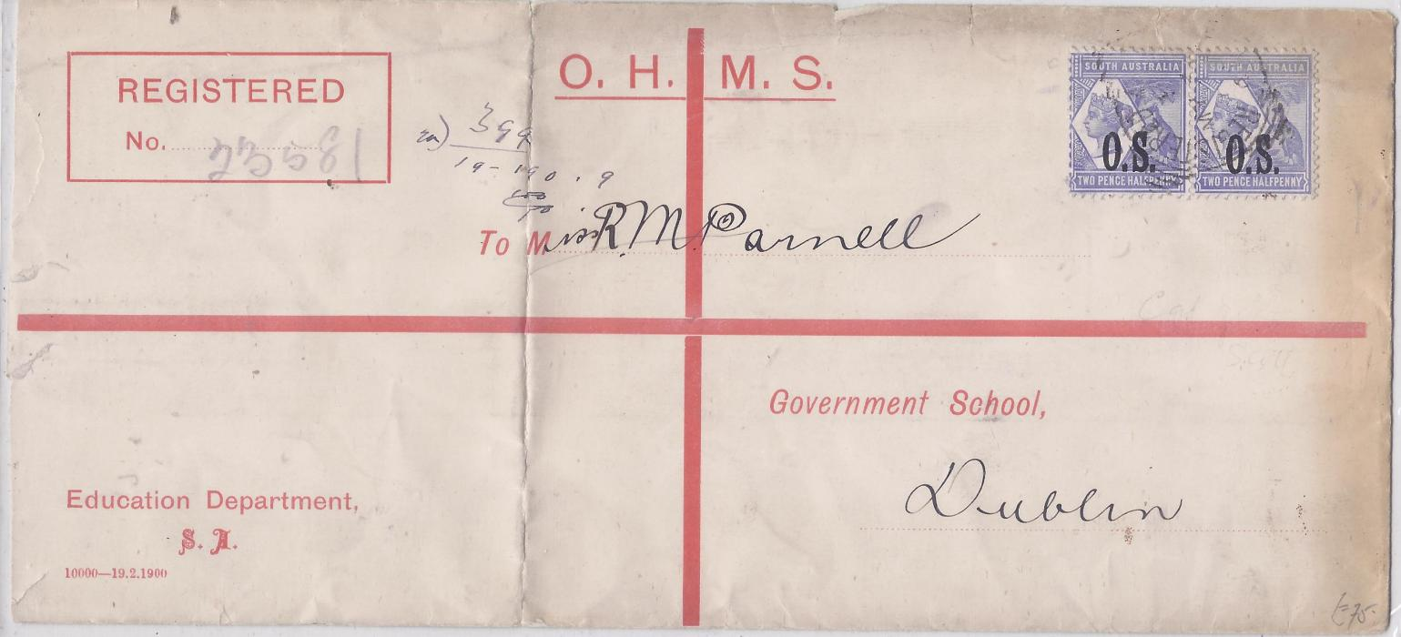 Australia South: 1890s OHMS formula registration envelope from Education Department to Dublin additionally franked pair O.S. 2 1/2 d. overprints tied unclear Adelaide square circle, vertical crease at left.