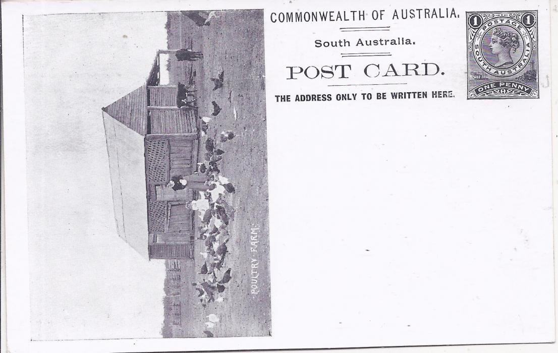 Australia (South – Picture Stationery) 1900s 1d. black stationery card with illustration of 'Poultry Farm' fine unused.