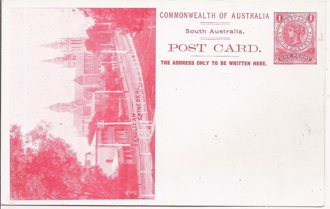 Australia (South � Picture Stationery) 1900s 1d. red stationery card with illustration of �Anglican Cathedral� fine unused.