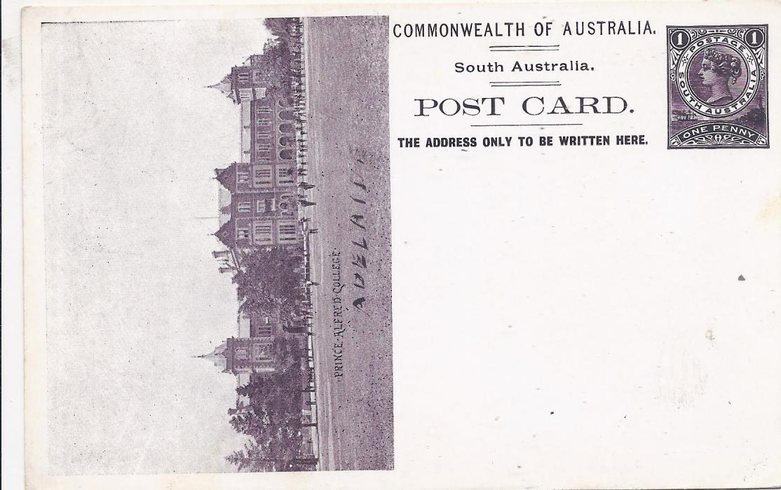 Australia (South � Picture Stationery) 1900s 1d. black-purple stationery card with illustration of �Prince Albert College� unused. Adelaide has been added in pen.