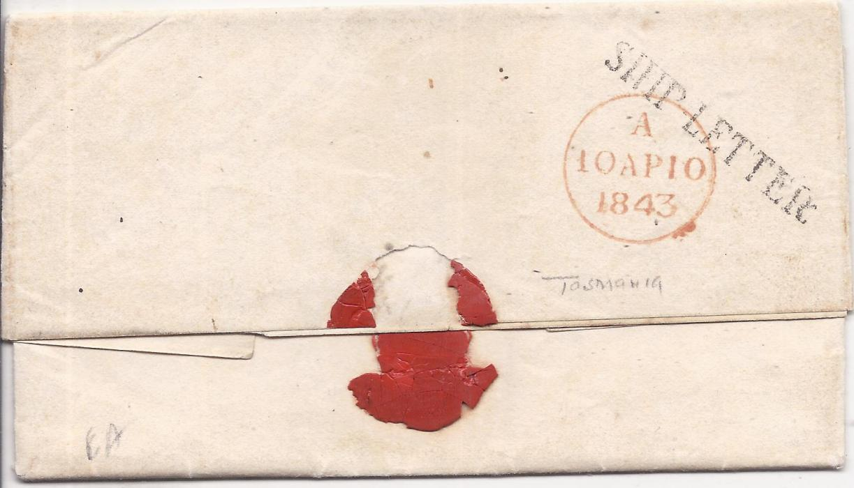 Australia Tasmania 1842 entire to London with manuscript rate markings, red PAID date stamp, reverse with straight-line SHIP LETTER and red cds