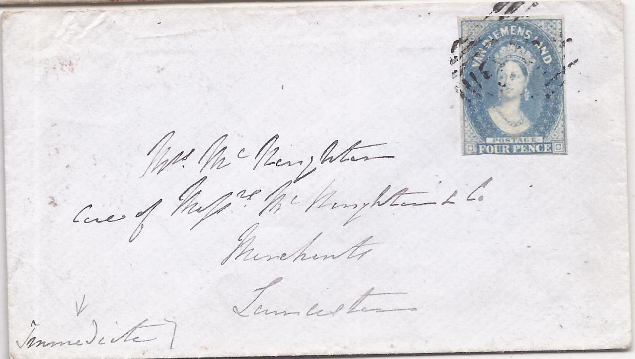 Australia Tasmania 1859 internal cover to Launceston bearing single franking 4d. tied unclear obliterator, reverse with framed PRE-PAID/ 7 OC 7/ 1859 date stamp. The stamp with three good to large margins, cut into at base.