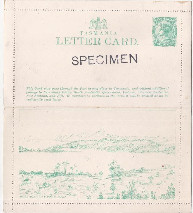 Australia Tasmania 1898 2d. green illustrated letter card Diana Basin and St Patrick Head overprinted SPECIMEN on front; fine and unusual
