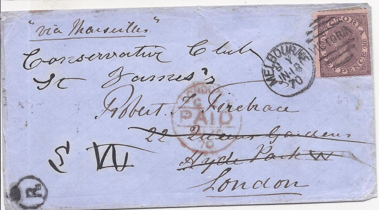 Australia Victoria 1870 cover to London, redirected on arrival to