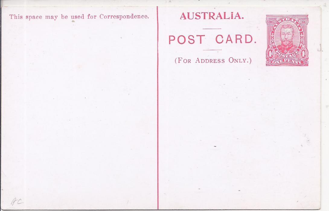 Australia (Picture Stationery) 1911 1d card card in red with image �Coimadai/ Bacchus Marsh/ Victoria�, setting 1 with 5mm spacing, fine unused. An unlisted colour.