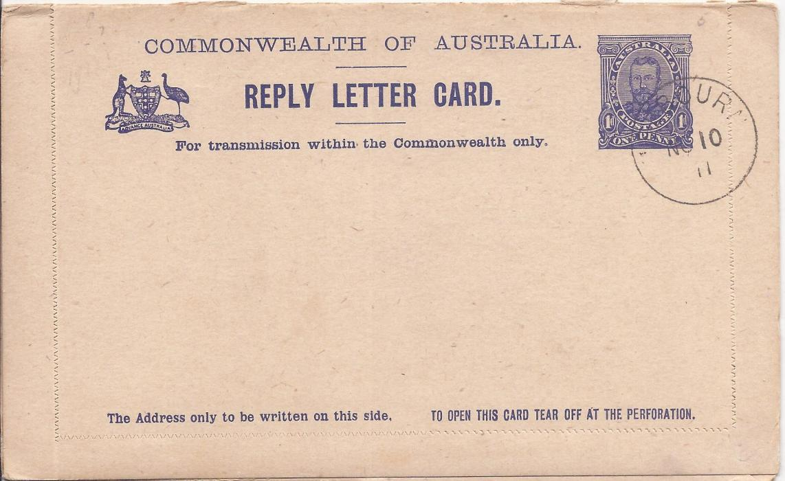 Australia (Picture Stationery) 1911 1d reply letter card in a dark blue shade, the front image of Town Hall, Sydney and the return Phatom Waterfalls Victoria, both outward and reply sections cto with Melbourne cds of NO 10/ 11