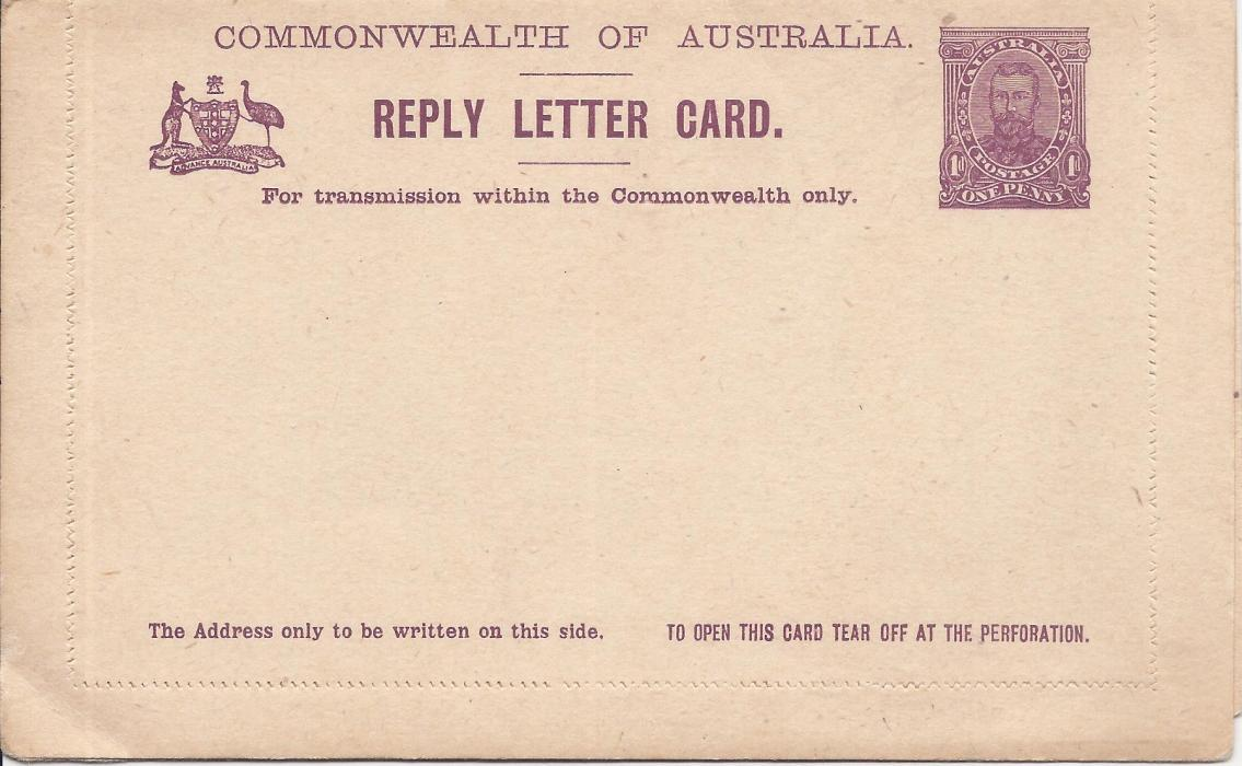 Australia (Picture Stationery) 1911 1d reply letter card in a purple shade, the front image of Town Hall, Sydney and the return Phantom Waterfalls Victoria, fresh unused.