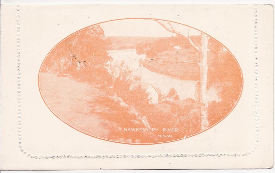 Australia (Picture Stationery) 1920s 2d. orange  letter card, 'Hawkesury River, N.S.W.', white surfaced paper with grey-green interior, cto used with Melbourne cds for U.P.U. distribution. A scarce card.