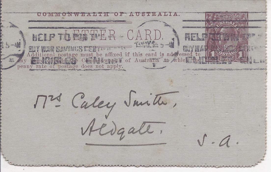 Australia (Picture Stationery) 1914-18 Die I 1d. purple brown letter card, �Railway Sleepers, Queensland� used with full message.