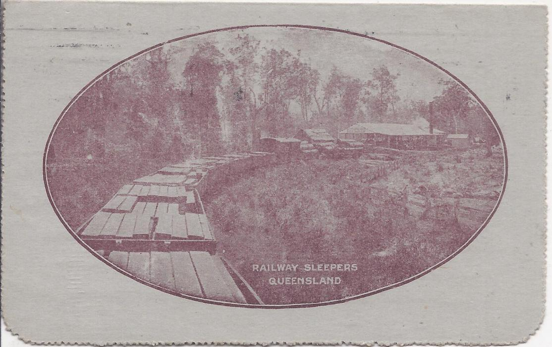 Australia (Picture Stationery) 1914-18 Die I 1d. purple brown letter card, 'Railway Sleepers, Queensland' used with full message.