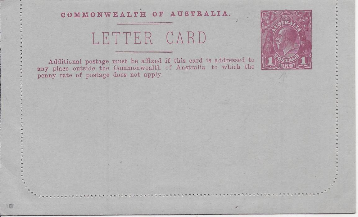 Australia (Picture Stationery) 1914-18 Die I 1d. magenta letter card, �Circular Quay/ Sydney� with sky, fine unused.