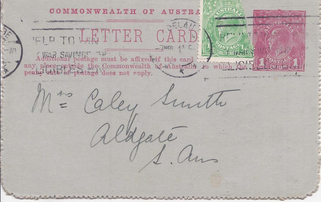 Australia (Picture Stationery) 1914-18 Die I 1d. red  letter card, 'Rundle St, Adelaide', no sky retouch, uprated used with damaged stamp, short message.
