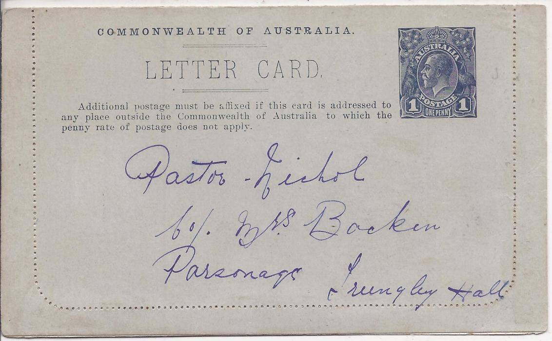 Australia (Picture Stationery) 1914-18 Die I 1d. greenish black letter card, white interior , �H.M.A.S. Melbourne�, with message and addressed but not sent