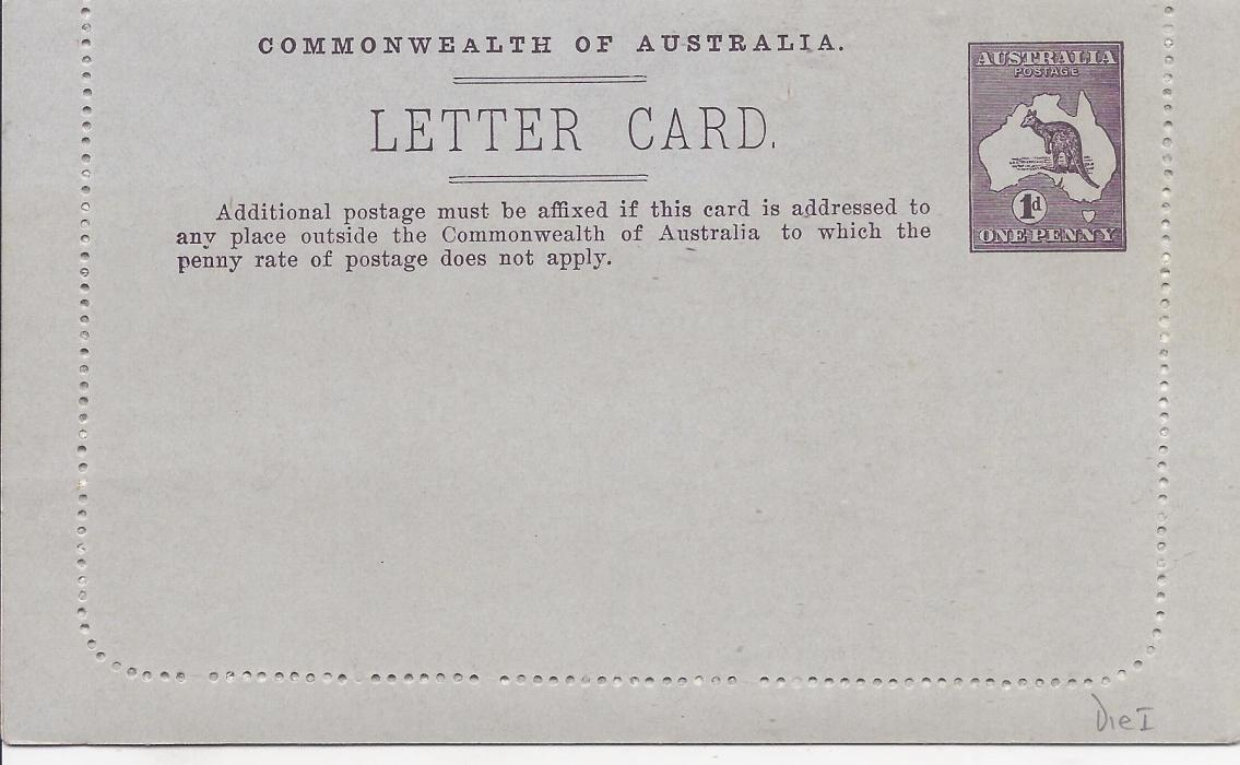 Australia (Picture Stationery) 1913 Die I 1d. purple brown letter card, �Mt Lofty Ranges/ South Australia�   fine unused.