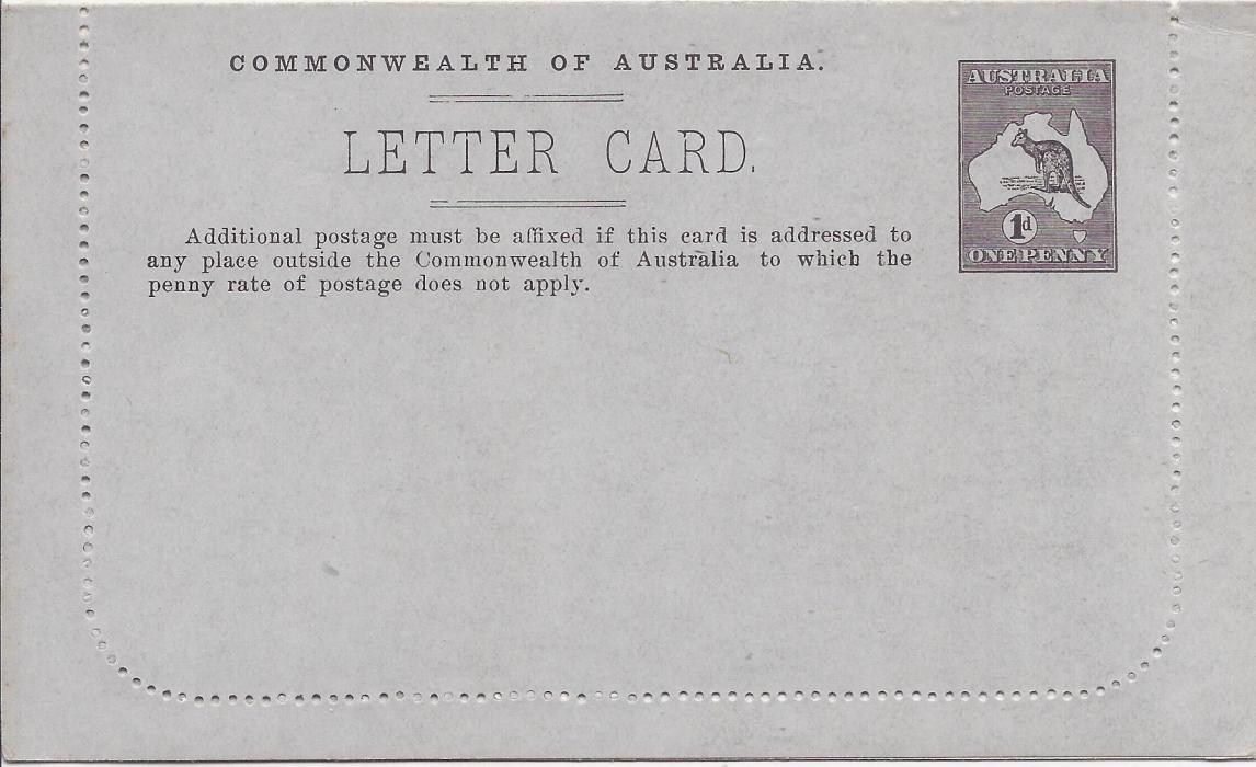 Australia (Picture Stationery) 1913 Die II 1d. greenish black letter card Pineapples Queensland fine unused