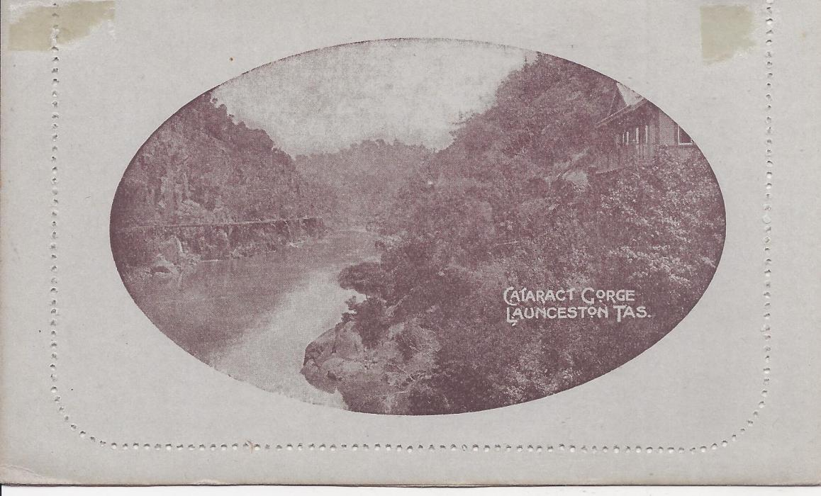 Australia (Picture Stationery) 1913 Die II 1d. brown letter card, oval framed Cataract Gorge/ Launceston Tas. fine unused