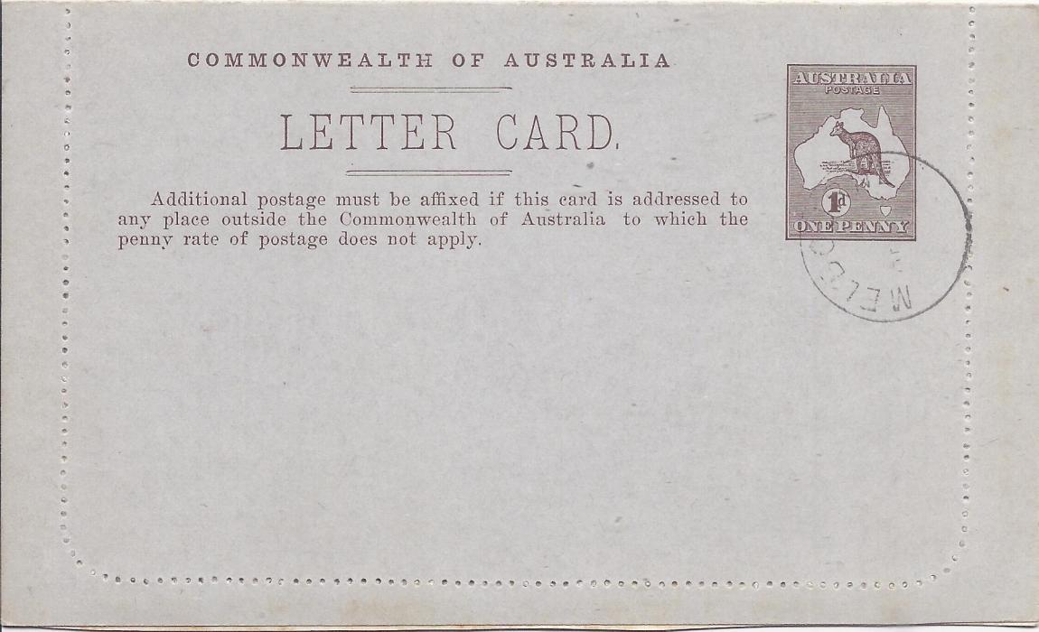Australia (Picture Stationery) 1913 Die II 1d. brown letter card, The Two Brothers/ Queensland, no stop after Australia, cto with Melbourne cds for U.P.U. distribution;fine condition.