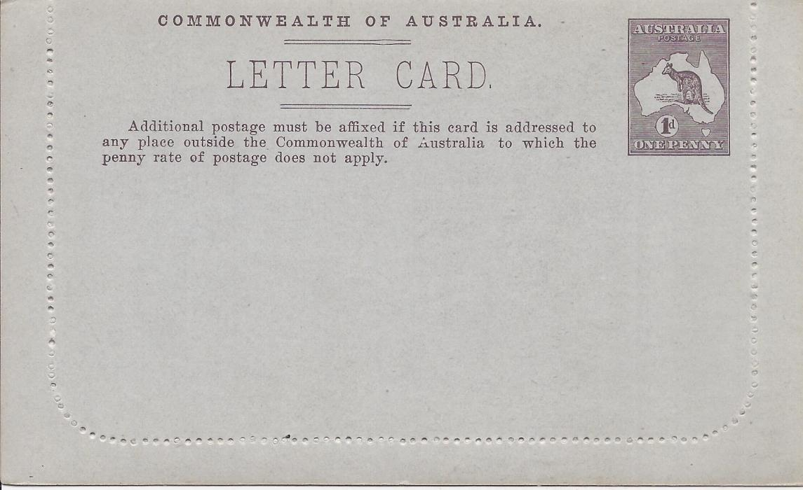 Australia (Picture Stationery) 1913 Original Die 1d. purple-brown letter card, St Georges Terrace, Perth showing no sky retouch, small discolouration spot on image.