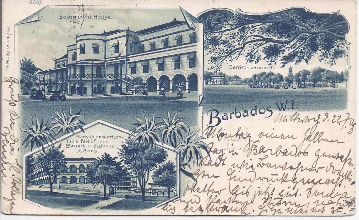 Barbados 1903 triple image small size postcard to Berlin, printed in Germany, numbered �2037� depicting Barracks, Government House and Garrison Savannah, used with Great Britain 1d. tied Kingston Jamaica cds and framed PAQUEBOT handstamp; good condition.