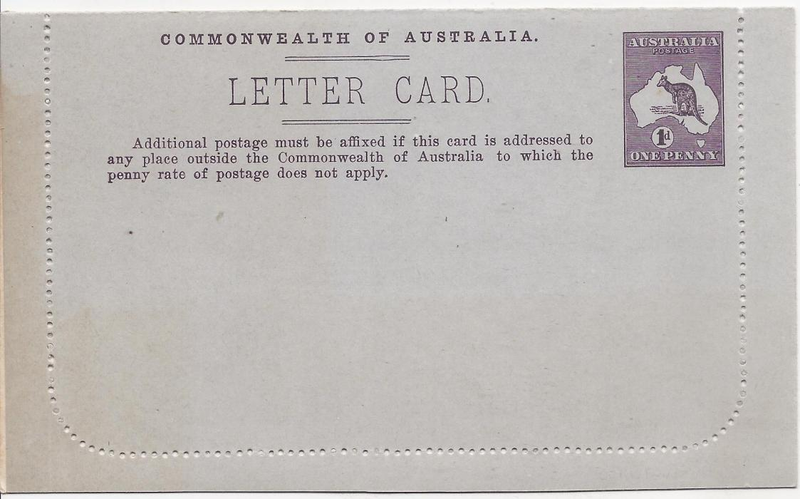 Australia (Picture Stationery) 1913-14 1d purple-brown Roo, original die letter card �St George�s Terrace, Perth� unframed oval without sky; fine unused.
