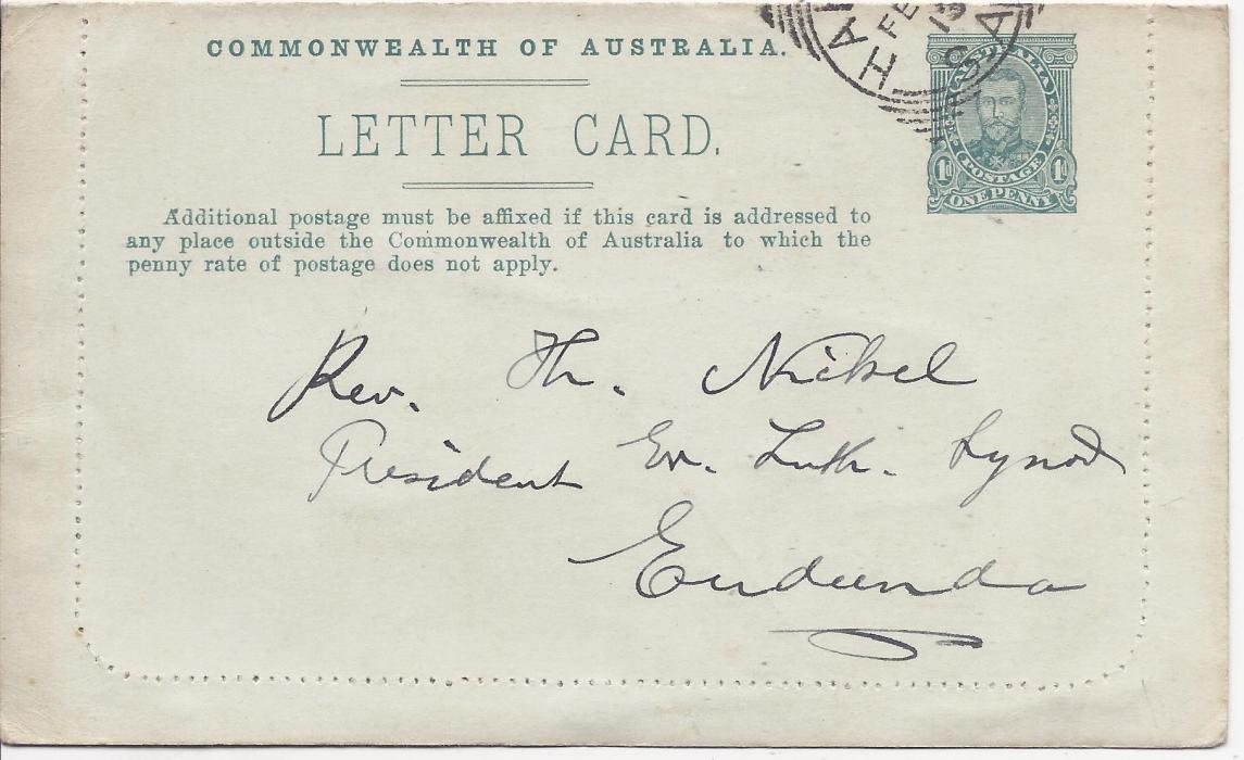 Australia (Picture Stationery) 1910s 1d blue-green �fullface�, Setting II, text B,  letter card, �Lorne, Victoria�, fine used with full message.