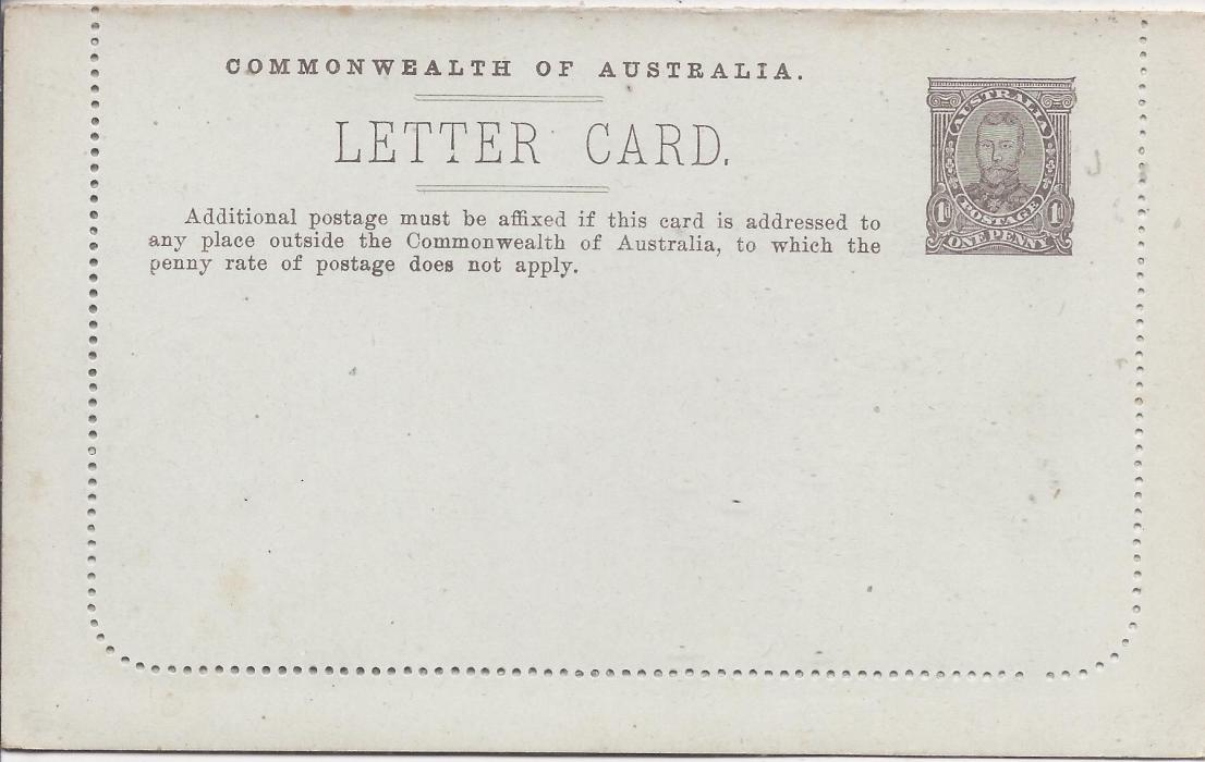 Australia (Picture Stationery) 1910s 1d. grey-brown �fullface�, Setting II, text A,  letter card, �Pineaplles�, fine unused.