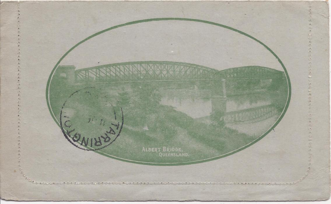 Australia (Picture Stationery) 1918 1d. grey-green �sideface�, Die I letter card, �Albert Bridge Queensland�, used from Eudunda S.A.