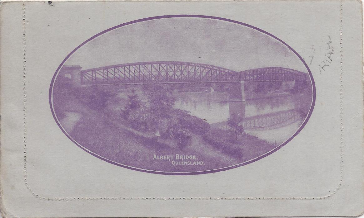 Australia (Picture Stationery) 1917 1d. purple �sideface�, Die I letter card, �Albert Bridge Queensland�, used from Eudunda S.A.