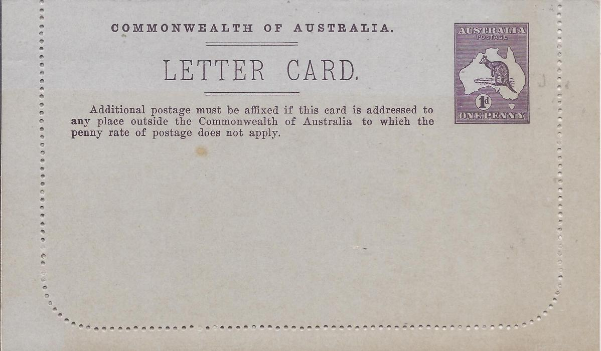 Australia (Picture Stationery) 1913-14 1d. purple-brown Roo, Die I letter card, Lorne Victoria, fine unused.