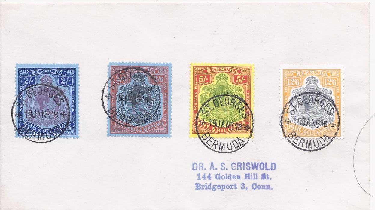 Bermuda 1951 (19 JAN) envelope bearing fine philatelic franking of four high values tied by St. Georges cds,  fine condition.