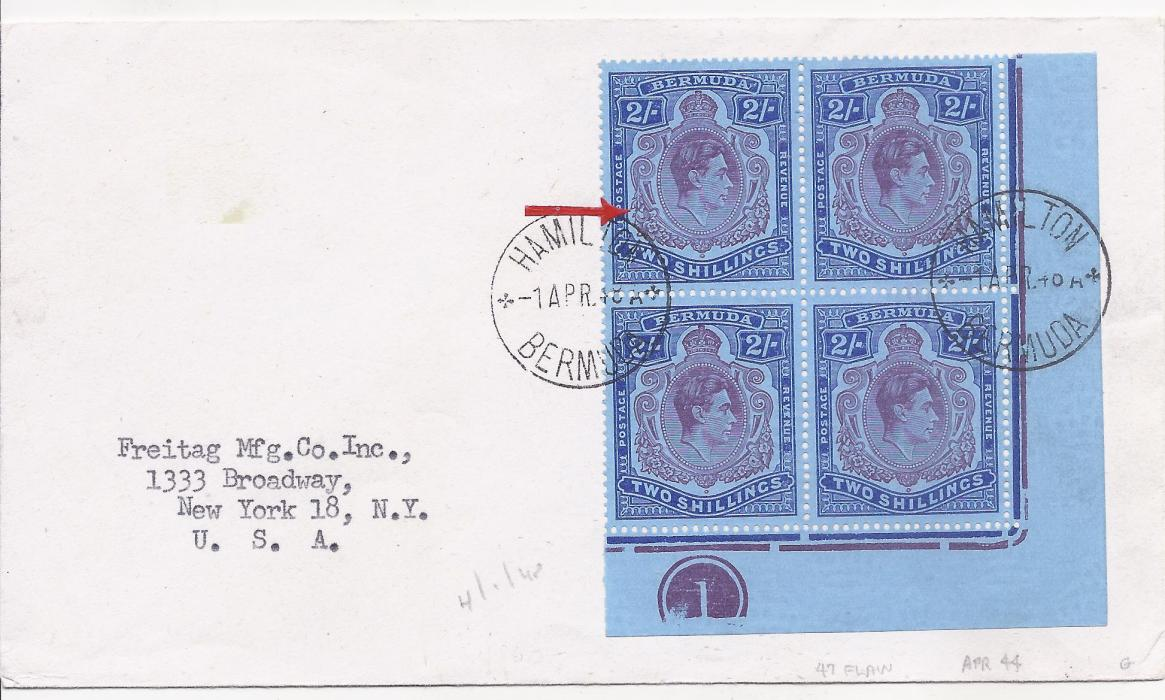 Bermuda 1948 (1 APR) cover to New York bearing corner plate block of four 2s. tied Hamilton cds, with small identified plate flaw.