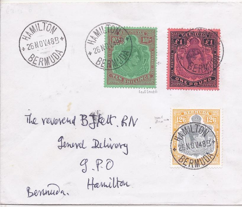 Bermuda 1949 (4 APR) envelope bearing fine philatelic franking of three highest values, tied by Hamilton cds, the 10/- and 12/6d with monor flaws; fine condition.
