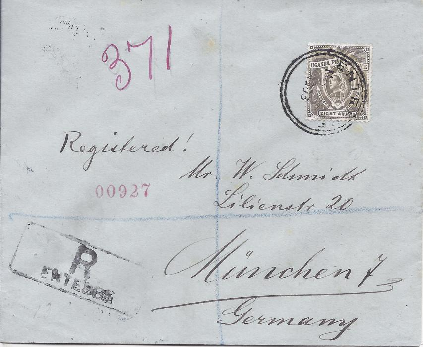 British East Africa Uganda: 1903 registered cover to Germany bearing single franking 8a. tied Entebbe cds with registration handstamp bottom left, reverse with Mombasa transit and arrival cds.