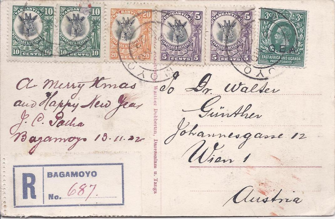British East Africa Tanganyika: 1922 registered picture postcard to Austria franked G.E.A. 3c. and Giraffe 5c. (2), 10c. (2) and 20c. tied Bagamoyo cds; fine condition.