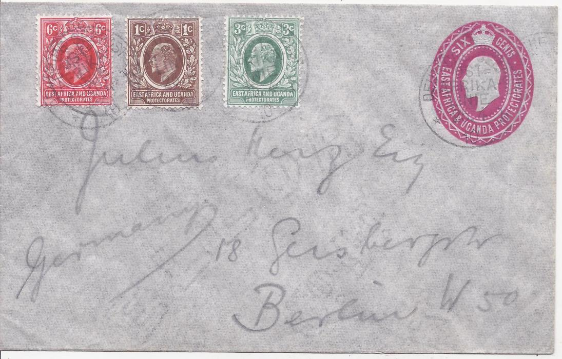 British East Africa 1910 (25/4) 6c. KEVII stationery envelope, uprated 1c., 3c. and 6c. tied Deutsche Seepost Ost Afrika Linie b datestamps of the �Gertrud Woermann�; fine condition without any arrival.