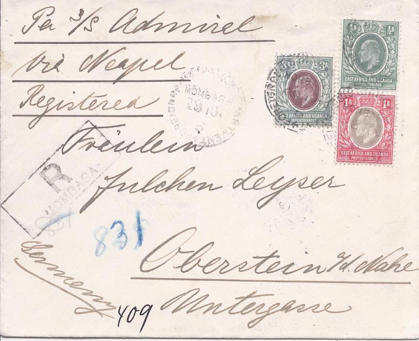 British East Africa 1905 registered cover to Germany franked �a., 1a. and 3a. tied Mombasa cds, endorsed �Per s/s Admiral/ via Neapel�, arrival backstamp.