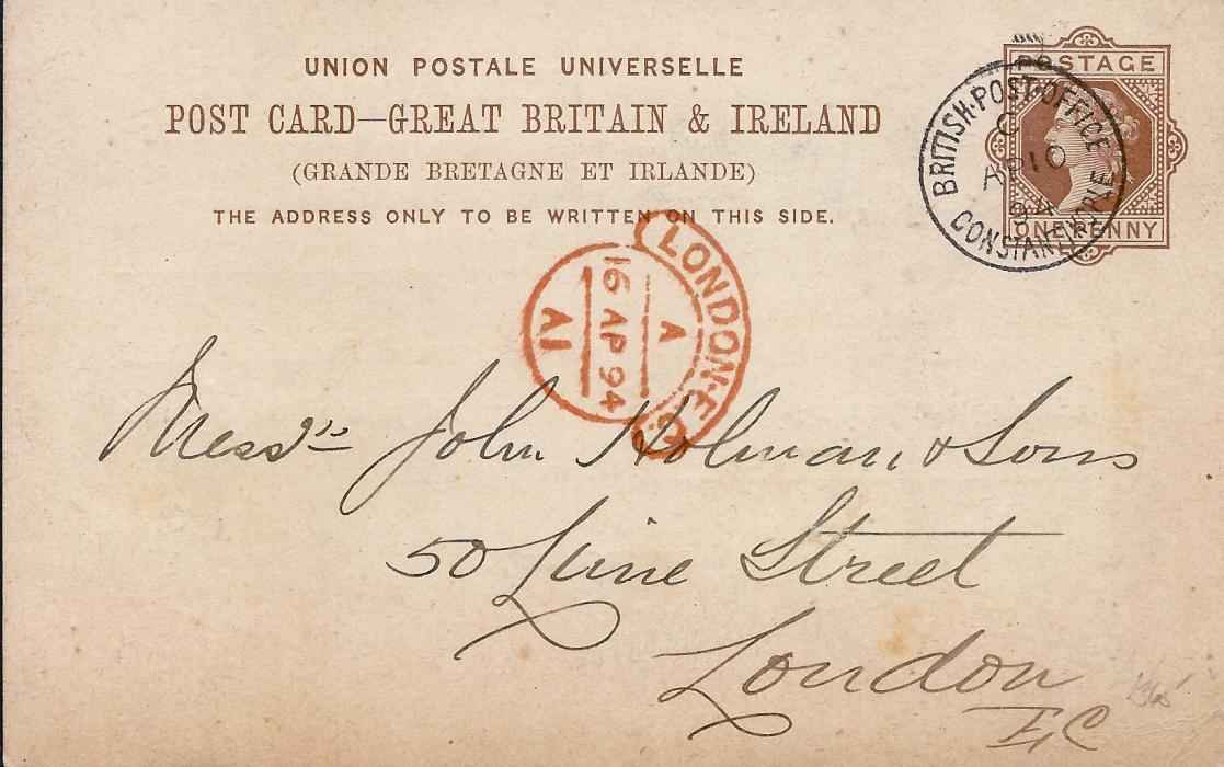 British Levant (Postal Stationery) 1894 Great Britain 1d. part printed stationery card to London cancelled by fine British Post Office Constantinople index C cds, arrival to left; fine condition