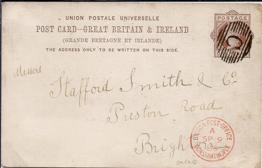 British Levant (Postal Stationery) 1883 Great Britain 1d. stationery card to Brighton cancelled by full and fine 'C' obliterator, British Post Office Constantinople index A cds at base