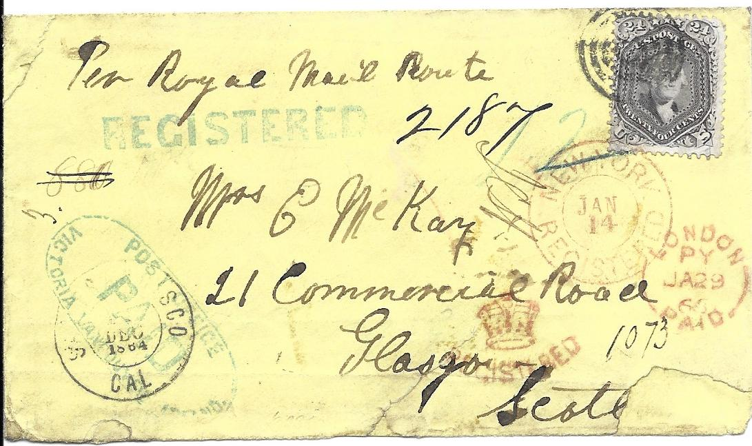 Canada 1864 registered cover to Glasgow, endorsed