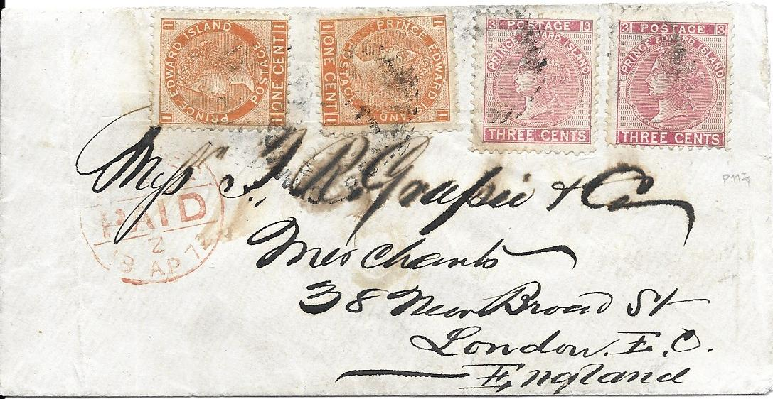 Canada (Prince Edward Island) 1872 (March) cover from Charlottetown to London, franked at the 8c. rate to pay for the faster Cunard service via New York by 1872 1c. brown-orange (2) and 3c. rose (2) tied by barred and dotted obliterator, London arrival. Slight faults including creasing but a unique and important cover. Any cover to the UK with the 1872 cents issueis very rare, but this is the only recorded example of the 8c. rate. RPS Cert (1984), Ex Brassler.