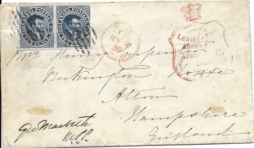 Canada 1859 (April 18) cover to England franked pair 10d. Jacques Cartier tied by two bar obliterators with crown framed Legislative Assembly/ April 18/ 1859/Canada handstamp, London transit. The left-hand stamp with four fine margins and that on the right with three goood margins; a fine and attractive double weight cover