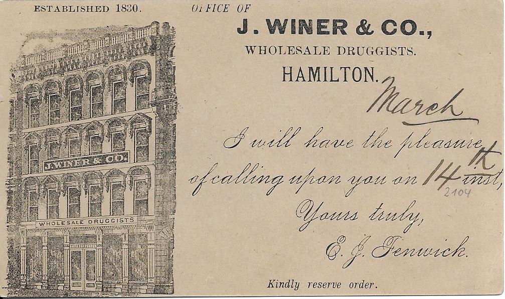 Canada (Picture Advertising Stationery) 1890 1c. card for a �Wholesale Druggist�, good used from Hamilton to Galt, Ont.
